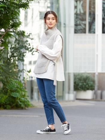 袖ボリュームシャツ&ニットベストセット【予約】