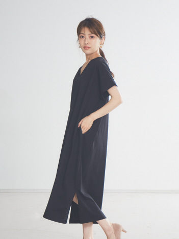 【追加生産/新色】ecru シルケットVネックワンピース